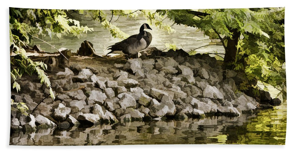 Canada Goose Hand Towel featuring the photograph The Hideaway by Diana Powell