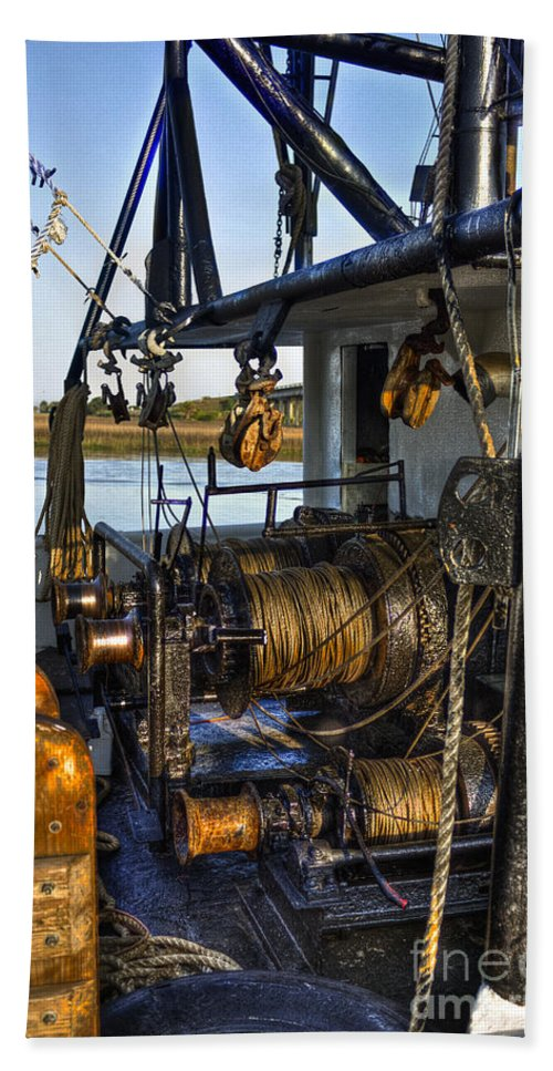 Reid Callaway Shrimp Boat Hand Towel featuring the photograph The Highways And Byways Of Shrimping by Reid Callaway