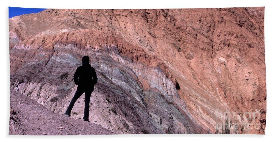 Argentina Bath Sheet featuring the photograph The Hill Of Seven Colours Jujuy Argentina by James Brunker