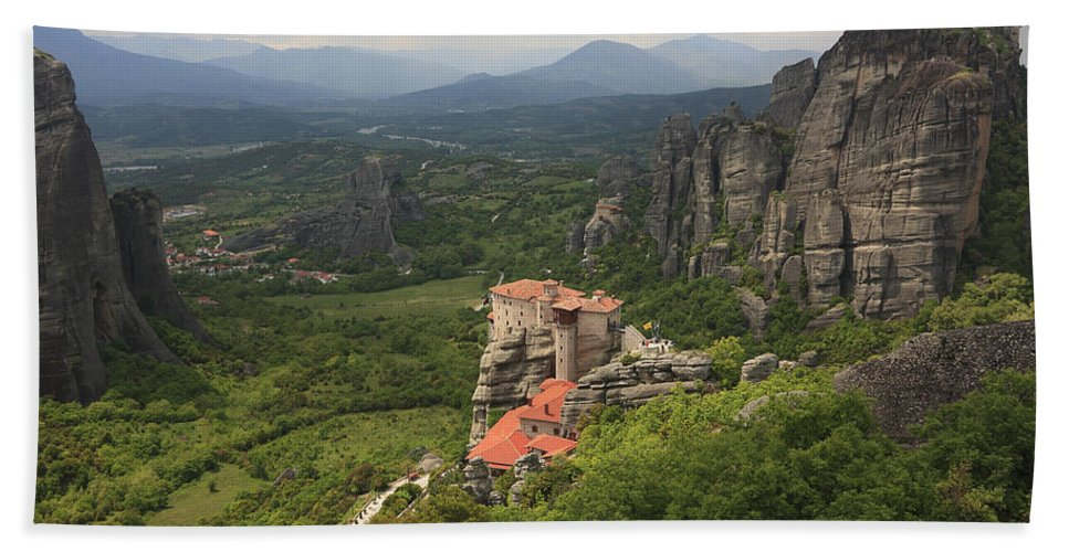 Architecture Bath Sheet featuring the photograph The Holy Monastery Of Rousanou Meteora Greece by Ivan Pendjakov