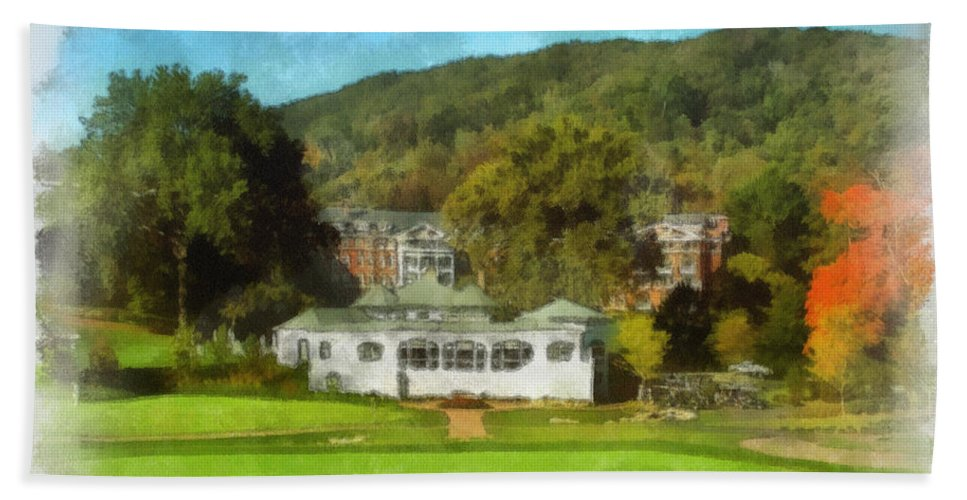 Art Bath Sheet featuring the photograph The Homestead Country Club by Paulette B Wright