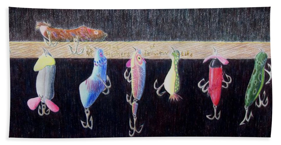 Still Life Bath Towel featuring the painting The Hookers of Belview Lake by A Robert Malcom