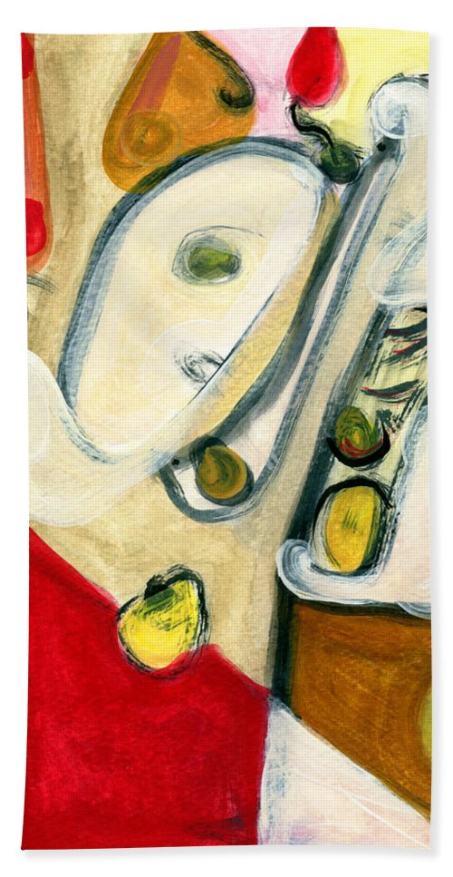 Abstract Art Hand Towel featuring the painting The Horn Player by Stephen Lucas