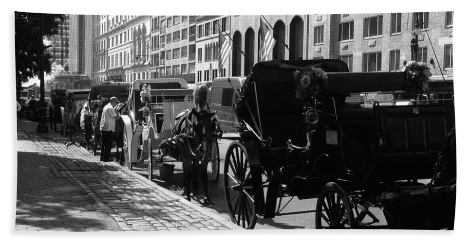 Horse And Buggy Hand Towel featuring the photograph The Horse And Buggy Lineup by Christy Gendalia