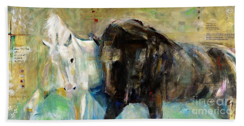 Equine Art Hand Towel featuring the painting The Horse As Art by Frances Marino