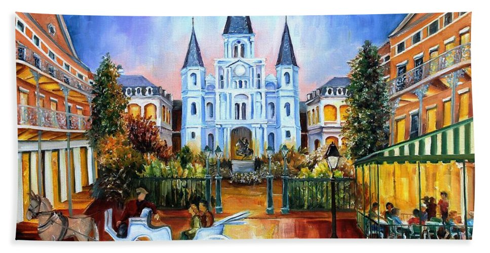 New Orleans Hand Towel featuring the painting The Hours On Jackson Square by Diane Millsap