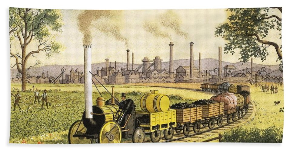 Steam Engine Bath Towel featuring the painting The Industrial Revolution by Ronald Lampitt