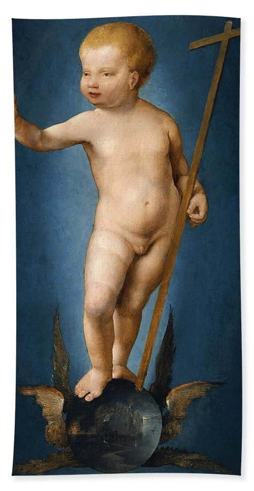 Joos Van Cleve Bath Sheet featuring the painting The Infant Christ On The Orb Of The World by Joos van Cleve