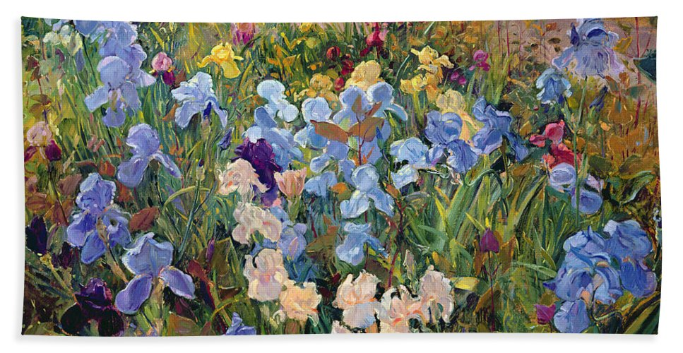 Garden Hand Towel featuring the painting The Iris Bed by Timothy Easton