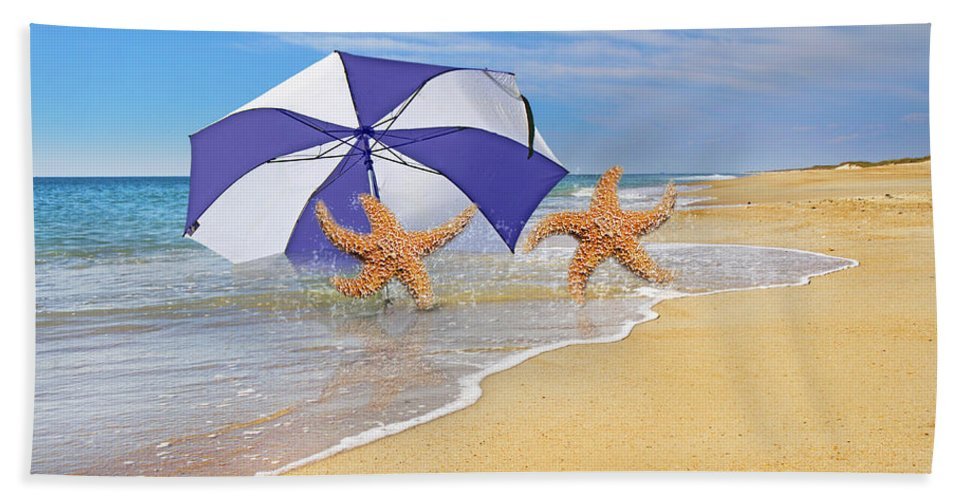 Beach Hand Towel featuring the digital art The Island To Ourselves by Betsy Knapp