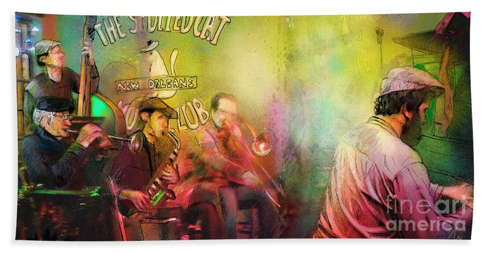 Music Bath Sheet featuring the painting The Jazz Vipers In New Orleans 03 by Miki De Goodaboom