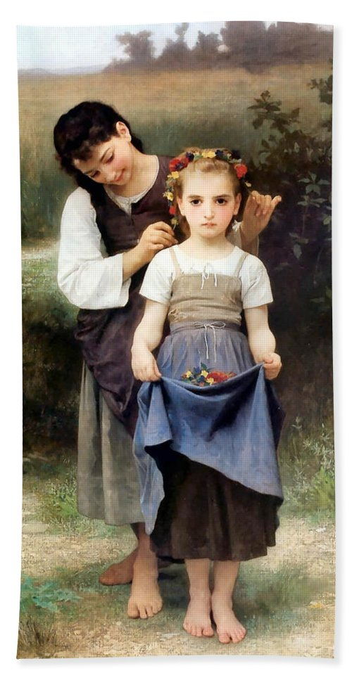 The Jewel Of The Fields Hand Towel featuring the digital art The Jewel Of The Fields by William Bouguereau