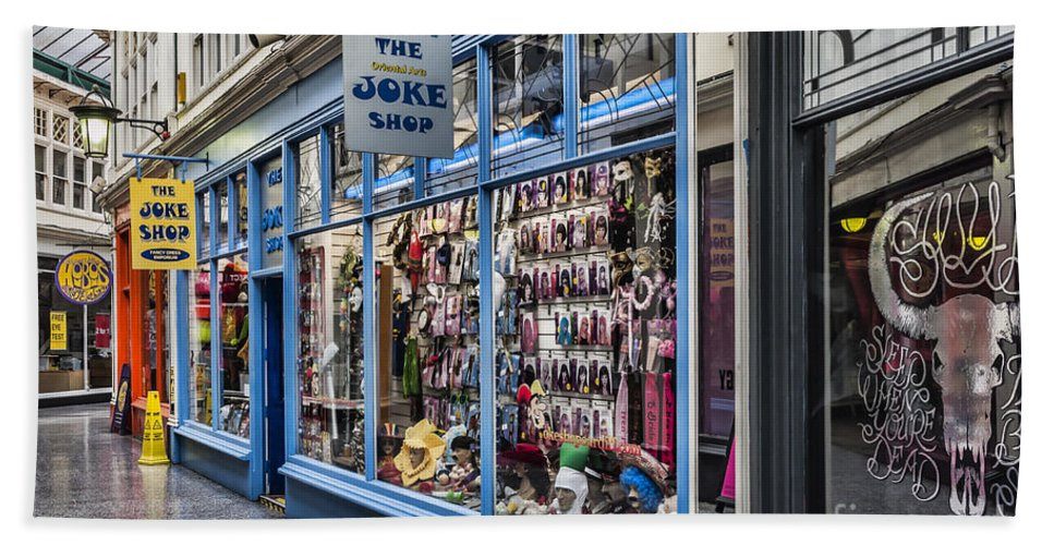 High Street Arcade Cardiff Hand Towel featuring the photograph The Joke Shop by Steve Purnell