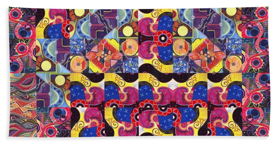 Abstract Hand Towel featuring the painting The Joy Of Design Mandala Series Puzzle 3 Arrangement 8 by Helena Tiainen