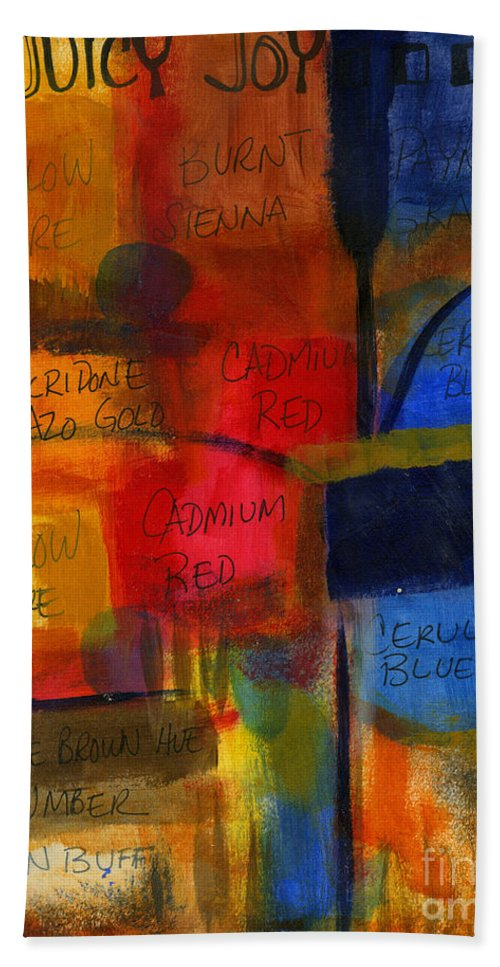 Warm Colors Hand Towel featuring the painting The Joy Of Planning An Abstract Painting At Starbucks by Angela L Walker