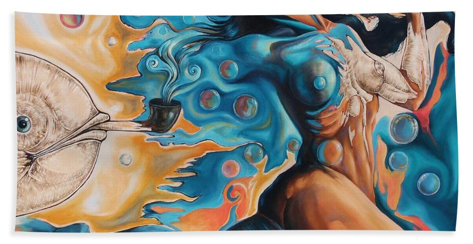 Surrealism Bath Towel featuring the painting On the Edge of Dreams by Darwin Leon