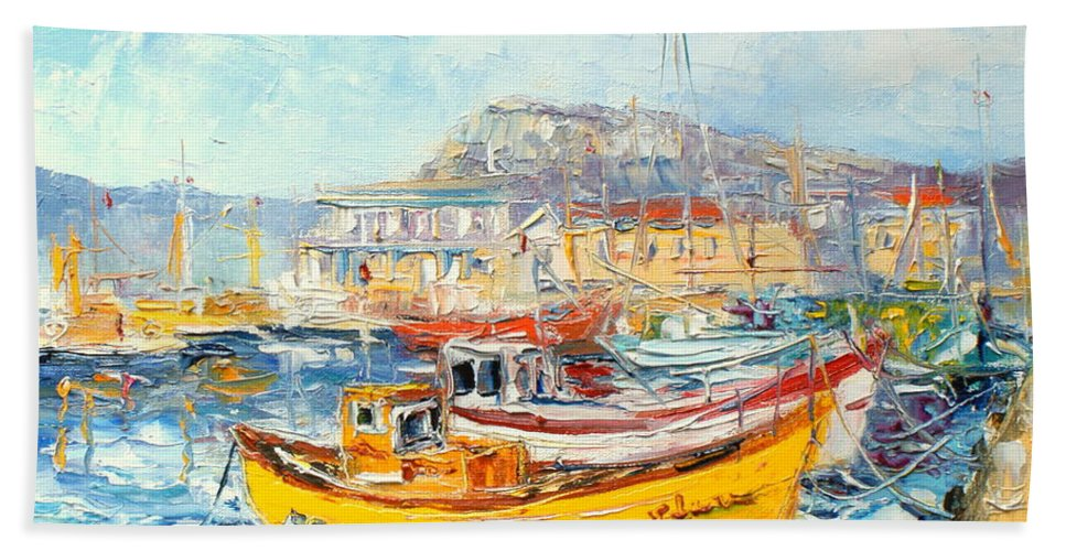 Kalk Bay Bath Sheet featuring the painting The Kalk Bay Harbour by Luke Karcz