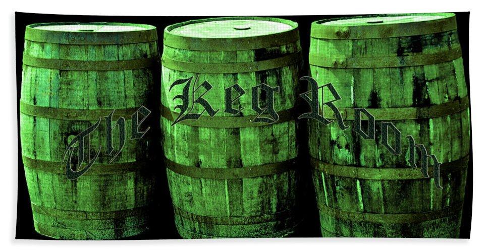 Beer Bath Sheet featuring the photograph The Keg Room 3 Green Barrels Old English Hunter Green by LeeAnn McLaneGoetz McLaneGoetzStudioLLCcom