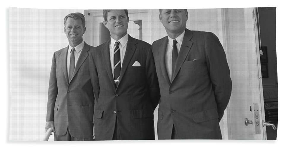 Jfk Bath Towel featuring the photograph The Kennedy Brothers by War Is Hell Store