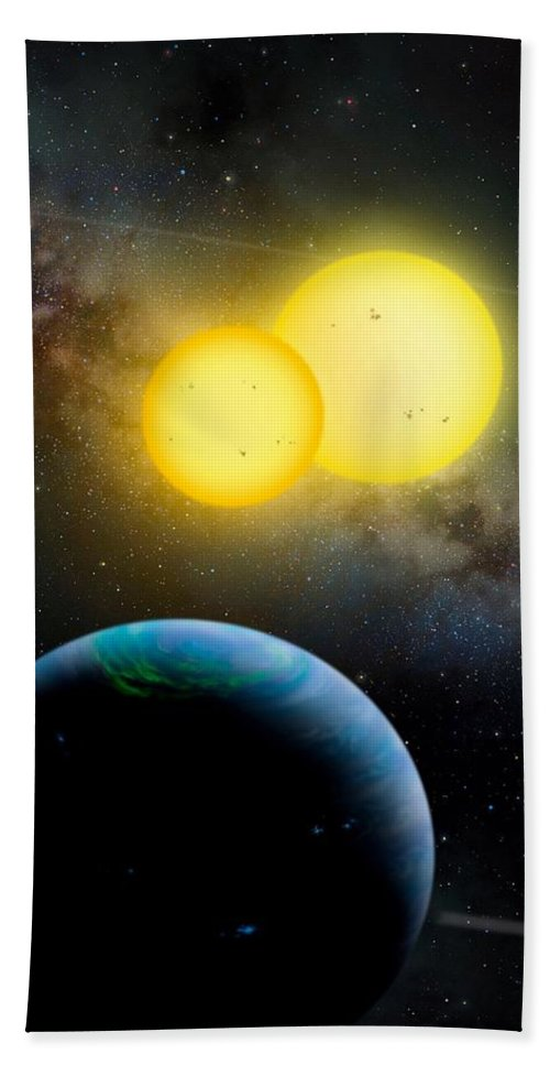 Moon Bath Sheet featuring the photograph The Kepler 35 System by Movie Poster Prints