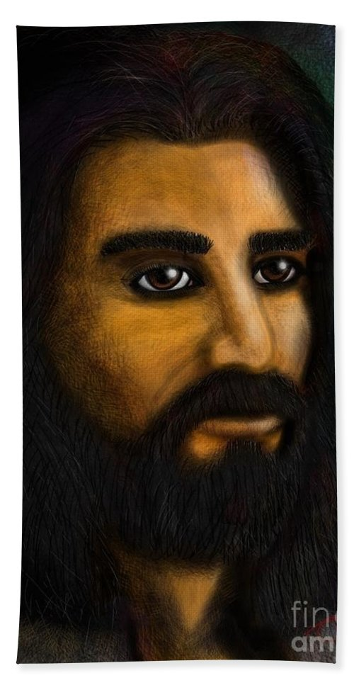 Jesus King Painting Digital Hand Towel featuring the digital art The King by Tommy Villarreal