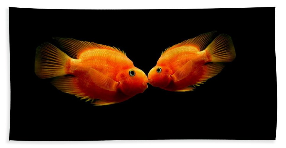 Fish Bath Sheet featuring the photograph The Kiss by Heike Hultsch