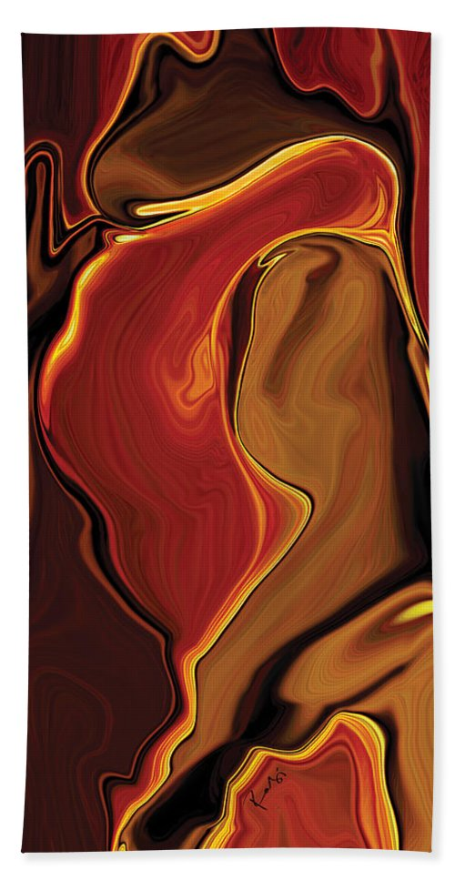 Kiss Hand Towel featuring the digital art The Kiss In Red by Rabi Khan