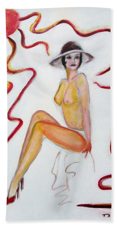 Glamour Hand Towel featuring the painting The Lady In Red High Heels by Tom Conway