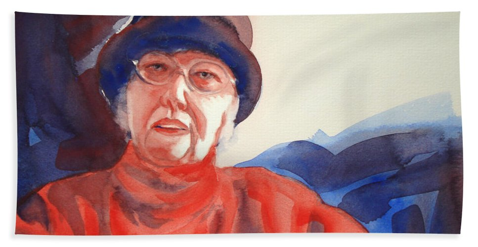 Painting Bath Sheet featuring the painting The Lady In Red by Kathy Braud