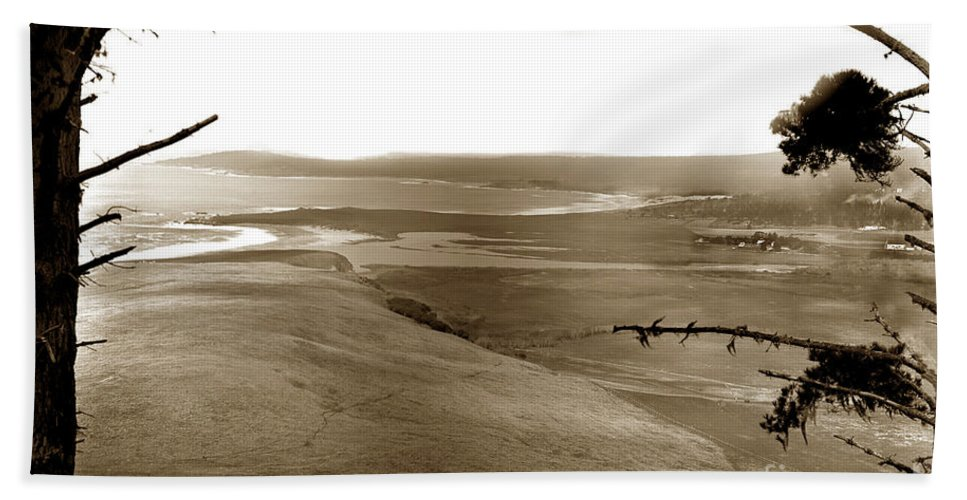 The Lagoon Bath Towel featuring the photograph The Lagoon At The Mouth Of The Carmel River From Fish Ranch California 1905 by California Views Archives Mr Pat Hathaway Archives