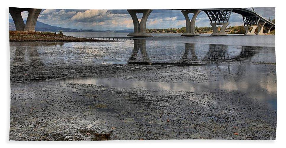 Lake Champlain Bridge Bath Sheet featuring the photograph The Lake Champlain Bridge From Cown Point by Adam Jewell