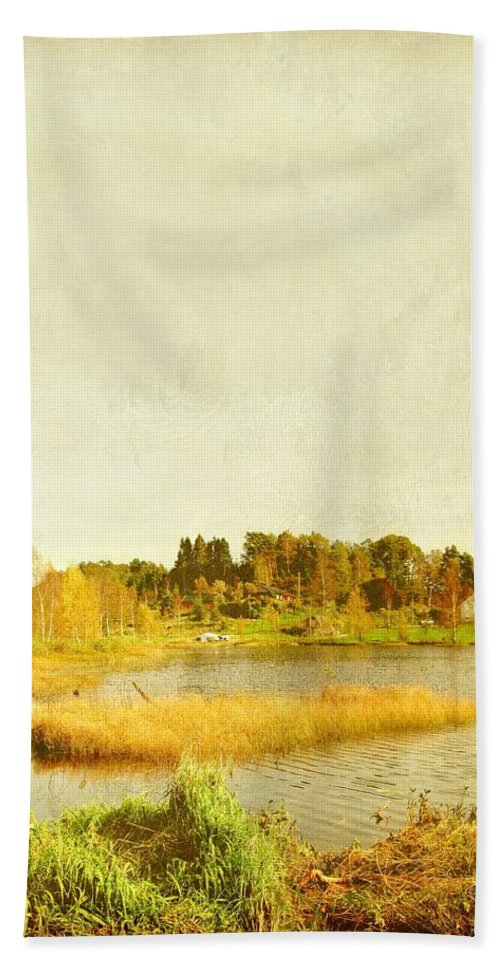 Travel Bath Sheet featuring the photograph The Lake In Autumn by Sonya Kanelstrand