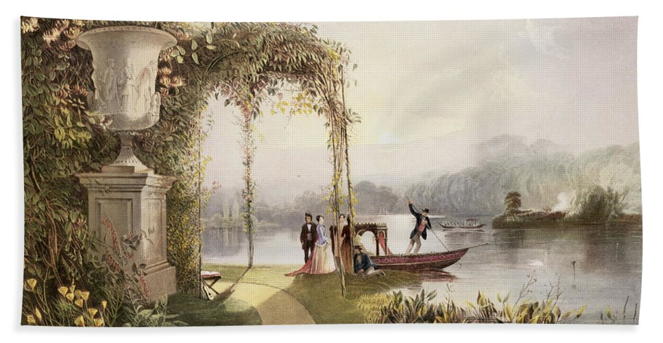 Garden Hand Towel featuring the painting The Lake Trentham Hall Gardens by E Adveno Brooke