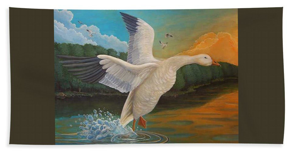 Rick Huotari Bath Towel featuring the painting The Landing by Rick Huotari