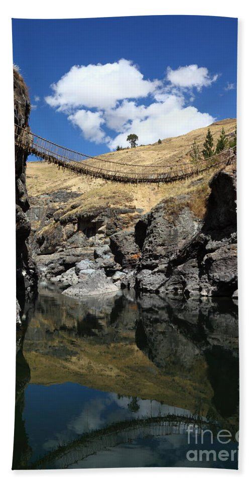 Peru Bath Sheet featuring the photograph The Last Inca Rope Bridge by James Brunker