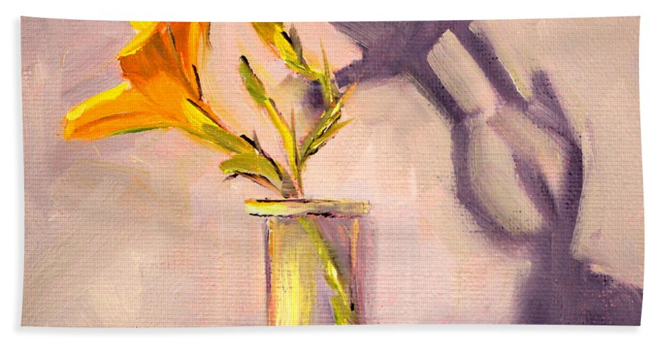 Lily Flower Hand Towel featuring the painting The Last Lily by Nancy Merkle