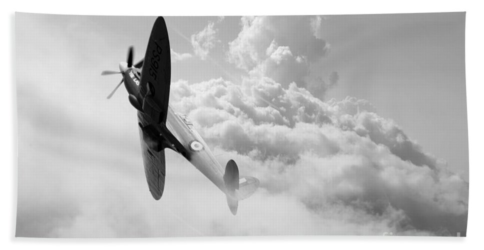 Spitfire Hand Towel featuring the digital art The Last Spitfire by J Biggadike