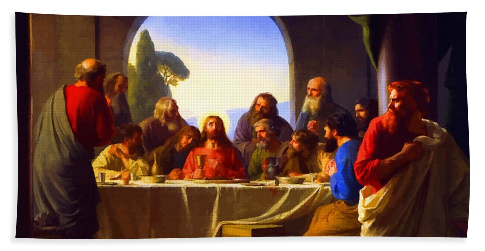 Retouched Bath Sheet featuring the digital art The Last Supper By Carl Heinrich Bloch by Don Kuing