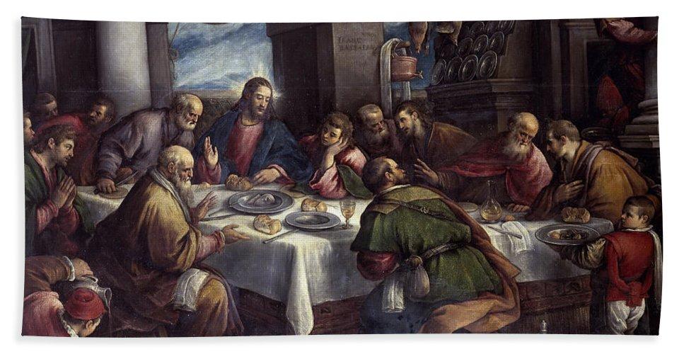 Francesco Bassano Bath Sheet featuring the painting The Last Supper by Francesco Bassano