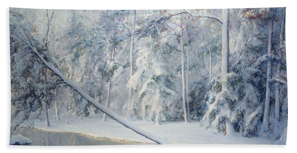 Winter Hand Towel featuring the painting The Leaning Tree by Walter Launt Palmer