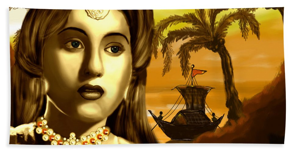 Digital Painting Bath Sheet featuring the painting The Legend Actress Madhubala by Artist Nandika Dutt