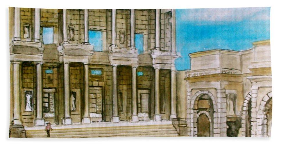Ephesus Turkey Library Ruins Bath Sheet featuring the painting The Library At Ephesus Turkey by Frank Hunter