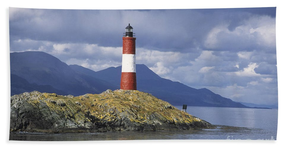 Lighthouse Bath Sheet featuring the photograph The Lighthouse At The End Of The World by James Brunker