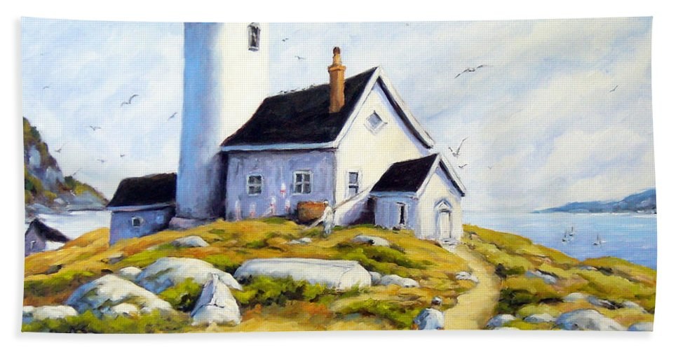 Fishing Boats; Fishermen; Bot Bath Towel featuring the painting The Lighthouse Keeper by Richard T Pranke