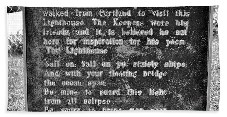 The Lighthouse Poem Hand Towel featuring the photograph The Lighthouse Poem by Tara Potts