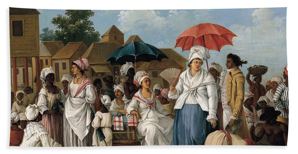 Agostino Brunias Bath Sheet featuring the painting The Linen Market. Santo Domingo by Agostino Brunias