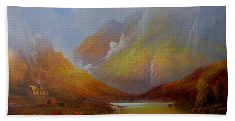 Original Fine Art Bath Sheet featuring the painting The Little Croft On The Isle Of Skye Scotland by Ray Gilronan