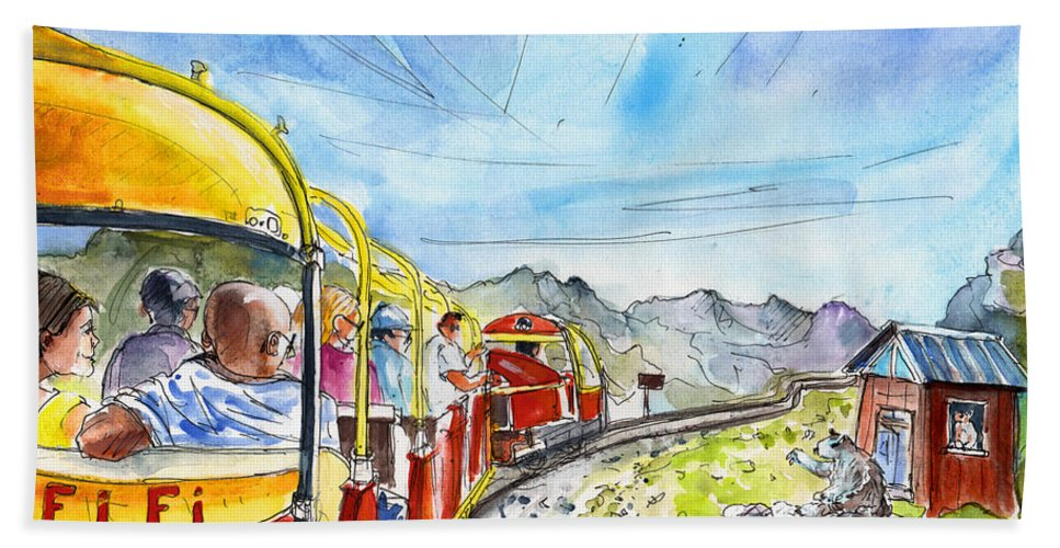 Travel Bath Sheet featuring the painting The Little Train Of Artouste by Miki De Goodaboom