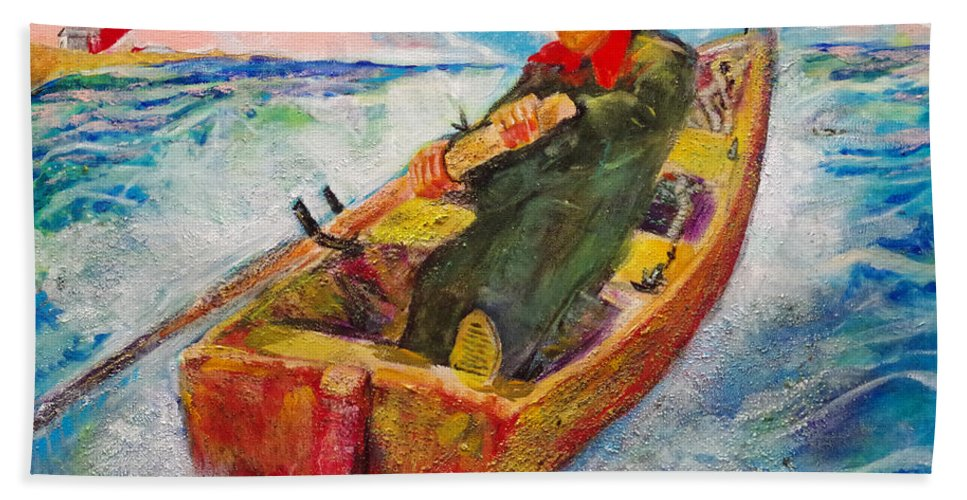 The Lone Boatman Bath Sheet featuring the painting The Lone Boatman by Seth Weaver