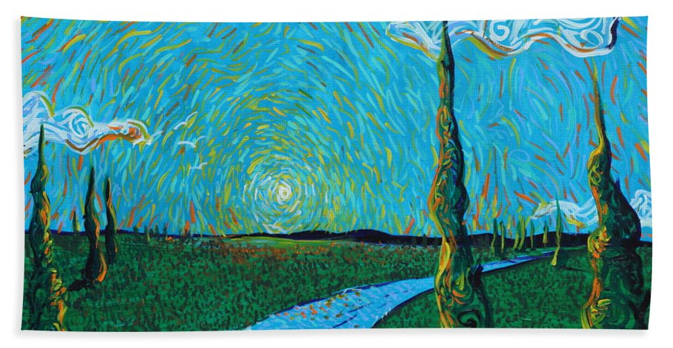 Landscape Hand Towel featuring the painting The Long Blue Road by Stefan Duncan